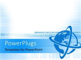 PowerPlugs: PowerPoint template with a plain blue and white display tile with a blue globe