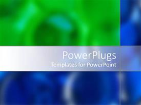 PowerPoint template displaying a plain blue, white and green blurry background tile