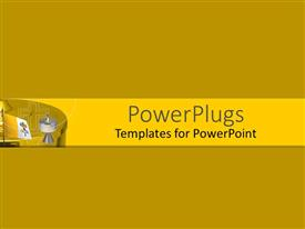 PowerPoint template displaying a plain bright yellow background theme tile with 3D graphics