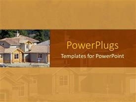 PowerPlugs: PowerPoint template with a plain brown background showing houses with a red strip