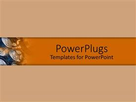 PowerPoint template displaying plain brown background surface tile with gears in a small corner