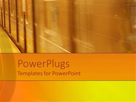 PowerPlugs: PowerPoint template with plain brown colored side view of a moving train