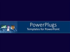 PowerPlugs: PowerPoint template with a plain deep blue background with a middle light blue strip