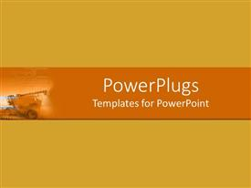 PowerPlugs: PowerPoint template with plain depiction of an orange background with a bulldozer
