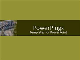 PowerPoint template displaying a plain green background with a gear and a strip in the middle