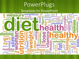 PowerPlugs: PowerPoint template with a plain green colored tile with lots of texts relating to health