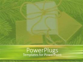 PowerPoint template displaying a plain green and white background tile with faint gift packs