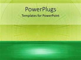 PowerPoint template displaying a plain lemon green and deep green colored background
