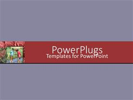 PPT having a plain light purple background with a red middle strip