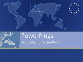 PowerPoint template displaying plain map with european symbol with stars on blue background