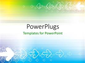 PowerPlugs: PowerPoint template with a plain multi colored background with lots of transparent arrows