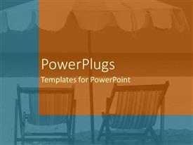 PowerPlugs: PowerPoint template with a plain oranfe and blue background tile with beach chairs and umbrella