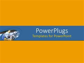 PowerPlugs: PowerPoint template with a plain orange colored background with a blue middle strip