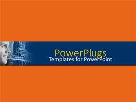 PowerPoint template displaying a plain orange colored background with a man smiling