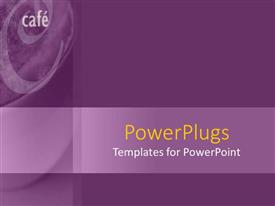 PowerPoint template displaying a plain purple background with a text that spell out the word