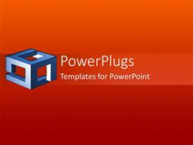 PowerPlugs: PowerPoint template with a plain red and orange colored background with blue box