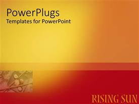 PowerPlugs: PowerPoint template with plain red and yellow background block with rising sun text