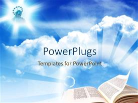 PowerPlugs: PowerPoint template with plain sky background with an open bible page and a picture of Jesus