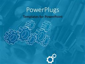 PowerPlugs: PowerPoint template with a plain sky blue background tile with white transparent gears