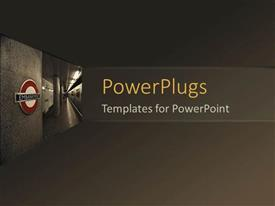 PowerPlugs: PowerPoint template with plain solid brown colored pane with an emergency text