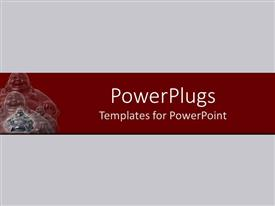 PowerPoint template displaying plain off white background surface tile with three similar smiling images