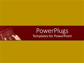 PowerPoint template displaying a plain yellow colored background with a pair of hands holding a bible