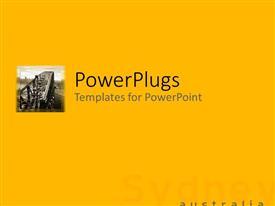PowerPoint template displaying a plain yellow colored background with a text that spells out the word