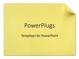 PowerPoint template displaying a plain yellow note on a plain yellow background