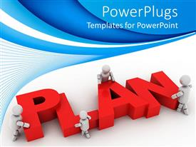 PowerPlugs: PowerPoint template with plan ahead graphics strategy for business on a blue background