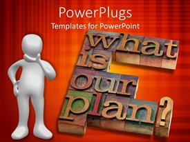 PowerPlugs: PowerPoint template with what is our plan for business models and strategy on red background
