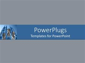 PowerPoint template displaying plane ash colored surface with a tall blue church