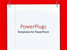 PowerPlugs: PowerPoint template with plane empty school report sheet with two paper clips