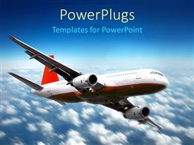 PowerPlugs: PowerPoint template with plane flying above the clouds in the sky, red and white airplane in the blue sky