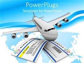 PowerPoint template displaying plane flying two tickets blue and white background
