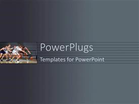 PowerPlugs: PowerPoint template with plane grey colored background with footballers playing in a court
