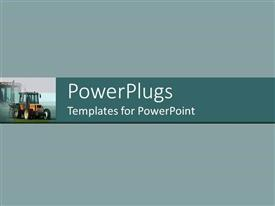 PowerPlugs: PowerPoint template with plane solid ash colored background with a moving tractor