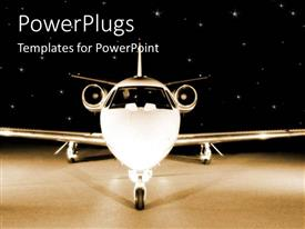 PowerPlugs: PowerPoint template with plane view from the front, frontal depiction of plane, corporate jet on starry sky black background