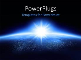 PowerPlugs: PowerPoint template with planet earth glowing with the sun rising and black color