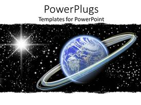 PowerPlugs: PowerPoint template with planet earth orbited by glowing rings of light on black galaxy with stars and shining meteor