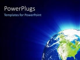PowerPlugs: PowerPoint template with planet Earth radiating blue light on black background