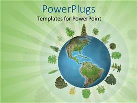 PowerPlugs: PowerPoint template with planet earth with a selection of trees with green leaves growing around the globe