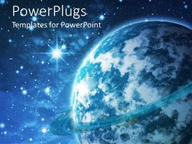 PowerPlugs: PowerPoint template with a planet like earth in space with black sky and shining stars