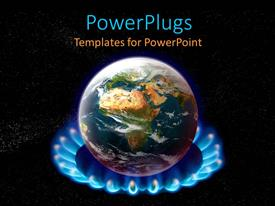 PowerPoint template displaying planet Earth on top of flaming burner on black background depicting global warming concept