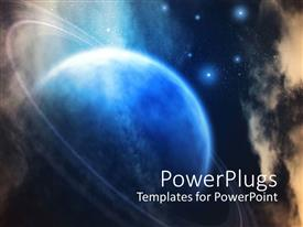 PowerPlugs: PowerPoint template with planet surrounded by rings on galaxy with stars background
