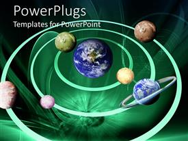 PowerPlugs: PowerPoint template with all the planets of the solar system together revolving around Earth