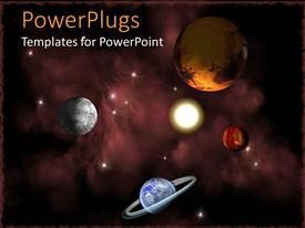 PowerPoint template displaying planets in space, depiction of Earth, Sun and other planets in the starry galaxy
