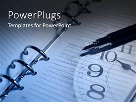 PowerPlugs: PowerPoint template with planner notes with pen and clock future planning strategy