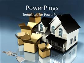 PowerPlugs: PowerPoint template with planning to move houses moving boxes new keys mortgage financial plans stress