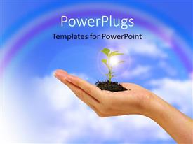 PowerPlugs: PowerPoint template with plant sprouting from earth in human hand over cloudy sky
