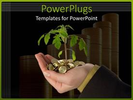 PowerPlugs: PowerPoint template with plant sprouting out from golden coins in hand with coin stacks in background